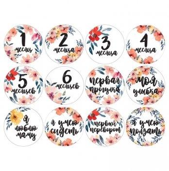 Набор наклеек для фото Memiks Цветочный 0-6 месяцев рус.