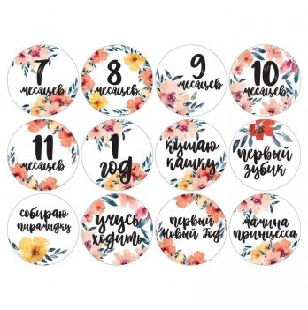 Набор наклеек для фото Memiks Цветочный 7-12 месяцев рус.
