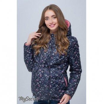 Короткая демисезонная двусторонняя куртка для беременных, MySecret, темно-синяя с принтом цветы/коралловый