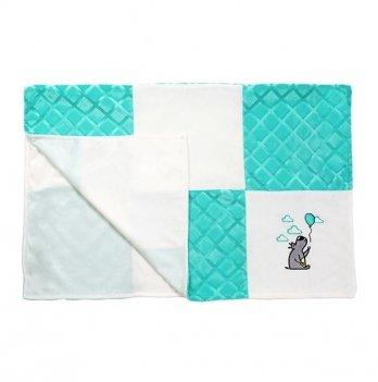 Одеяльце детское BabyOno minky patchwork, голубое