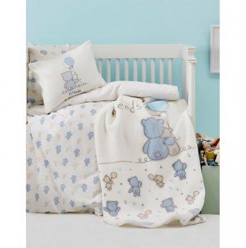 Детский плед в кроватку Karaca Home - Blue Bears 2017-1 100*120
