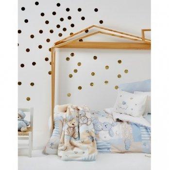 Детский плед в кроватку Karaca Home - Honey Bunny blue  2017-1 100*120