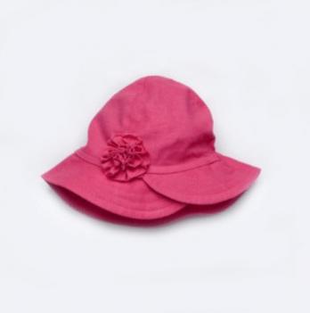 Панама льняная для девочки Модный карапуз, с цветком, малиновая