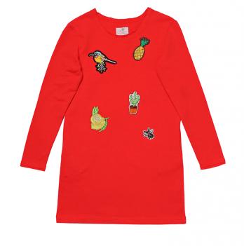 Платье с аппликацией для девочки Модный карапуз, красное