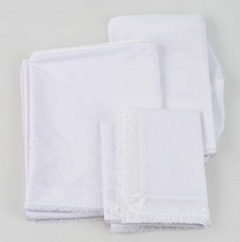 Комплект постельного белья ТМ Sasha с кружевом, белый
