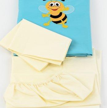 Комплект постельного белья ТМ Sasha с вышивкой, бирюзовый/молочный