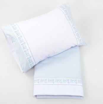 Комплект постельного белья ТМ Sasha с прошвой, белый/голубой