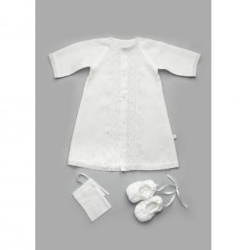 Крестильный комплект для мальчика Модный карапуз, без крыжмы, белый