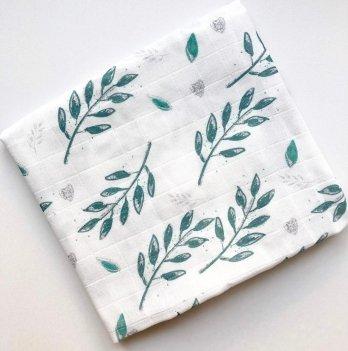 Муслиновая пеленка Embrace Листики зеленые 100х80 см