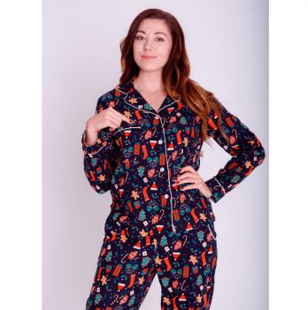 Пижама фланелевая женская Pjmood синяя с принтом