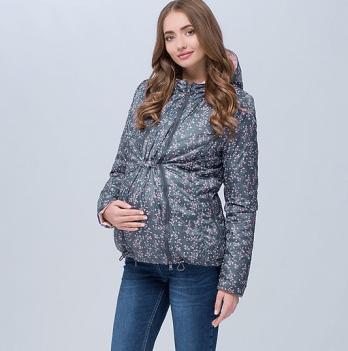 Короткая демисезонная двусторонняя куртка для беременных, MySecret, пыльный хакки с цветами/пудра