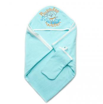 Детское полотенце для купания с рукавичкой Модный карапуз, бирюзовое