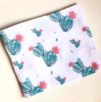 Муслиновая пеленка Embrace Кактусы с цветочком 100/80