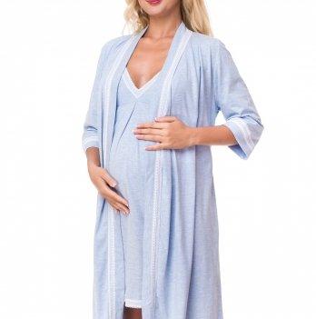 Комплект для беременных и кормящих мам DISSANNA ночная сорочка и халат, 1193/2149