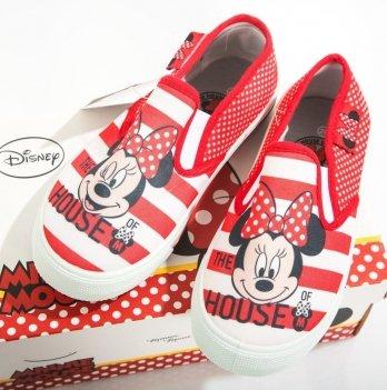 Слипоны для девочки Disney Минни Маус (Minnie), красные