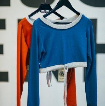 Укороченная кофта для беременных Zen Wear Форталеза индиго/серый