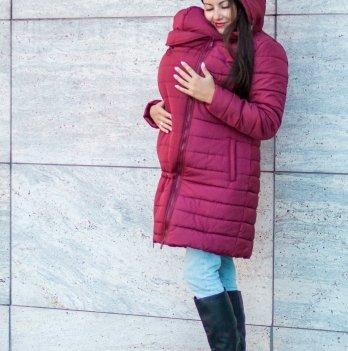 Слингокуртка зимняя 3 в 1 для беременных и кормящих мам Lullababe, бордо