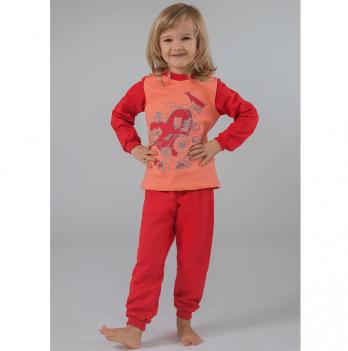 Пижама утепленная для девочки Модный карапуз, коралловая