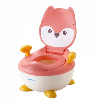 Горшок Babyhood, Лисица, с полиуретановым кольцом, розовый