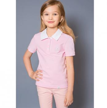 Футболка поло для девочки Модный карапуз, розовая