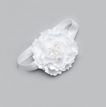 Повязка на голову Модный карапуз, ручной работы, белая