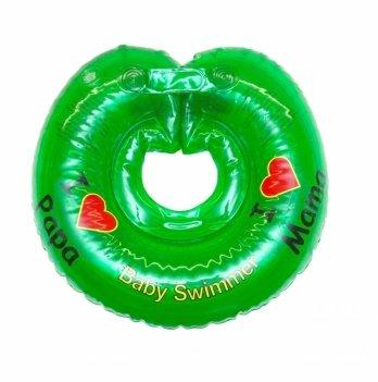 Круг на шею BabySwimmer Я люблю, зеленый с погремушками для детей 6-36 кг