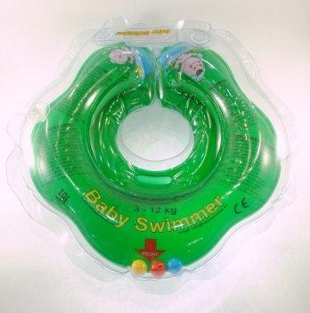 Круг BabySwimmer для детей от 0-24 месяцев и 3-12 кг с погремушками зеленый