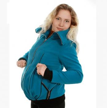 Куртка демисезонная 2 в 1 Кашемир Мamasik бирюзовая