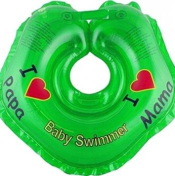 Круг BabySwimmer Я люблю для детей от 0-24 месяцев и 3-12 кг зеленый