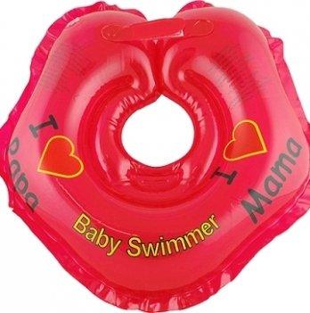 Круг BabySwimmer Я люблю для детей от 0-24 месяцев и 3-12 кг красный