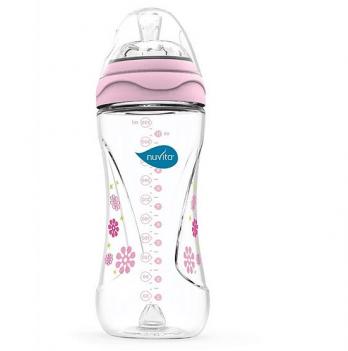 Бутылочка для кормления Nuvita Mimic 4м+, 330мл, антиколиковая, розовая