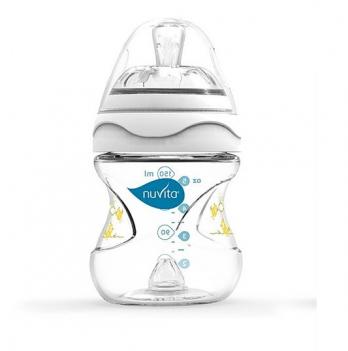 Бутылочка для кормления Nuvita Mimic 0м+, 150мл, антиколиковая, белая