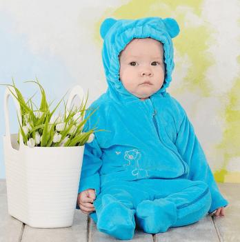 Слингокомбинезон велюровый Модный карапуз My baby, бирюзовый