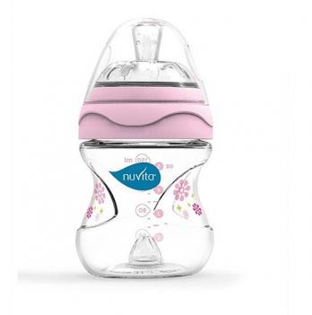 Бутылочка для кормления Nuvita Mimic 0м+, 150мл, антиколиковая, розовая