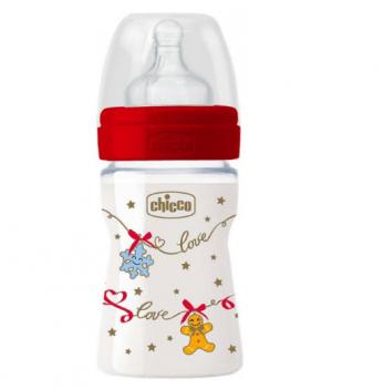 Бутылочка пластиковая Chicco Well-Being Christmas, c силиконовой соской, 150 мл, с рождения