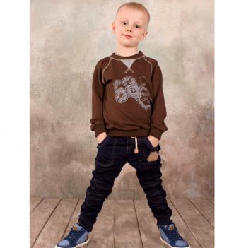 Брюки джинсового типа для мальчика Модный карапуз, темно-синие
