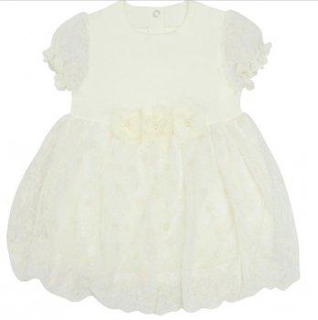 Комплект для девочки, платье и трусики, возраст от 6 до 18 месяцев, молочный, SMIL