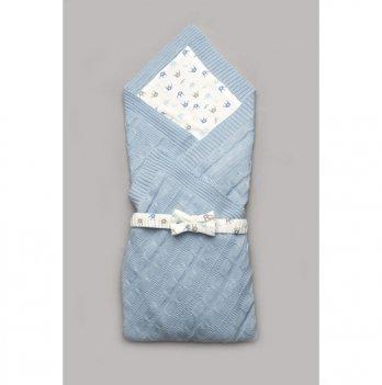 Вязаный плед для новорожденного Модный карапуз Голубой 90x90 см 03-00865