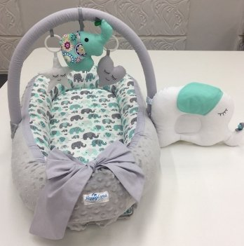 Кокон-гнездышко Happy Luna 0150 Babynest Plush Слоненок