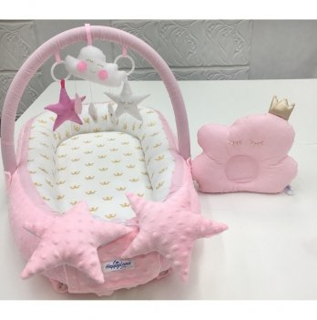Кокон-гнездышко Happy Luna 0147 Babynest Plush Розовая мечта 2