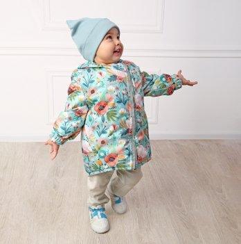 Детская куртка трансформер ДоРечі Демисезонная Сказочные цветы Мятный/Розовый 9 мес - 2 года 1982