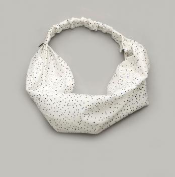 Повязка-косынка Модный карапуз белая в квадратик
