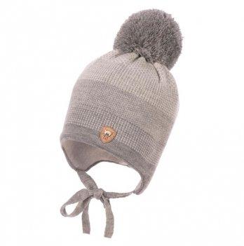 Зимняя шапка для мальчика Jamiks, помпон Кролик, серая