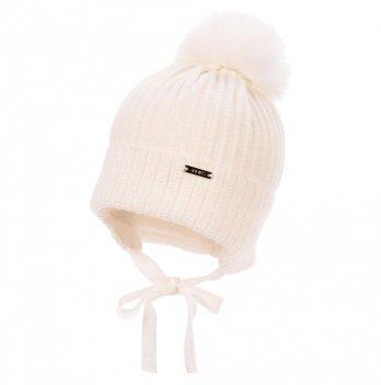 Теплая шапка для новорожденных Jamiks Fabio III, помпон Кролик, экрю