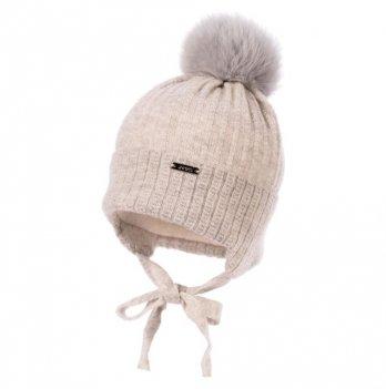 Теплая шапка для новорожденных Jamiks Fabio III, помпон Кролик, серая