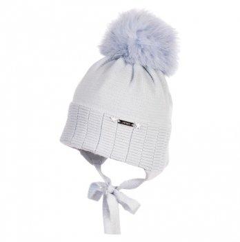 Зимняя шапка новорожденного Jamiks Jaх III, помпон Кролик, голубая
