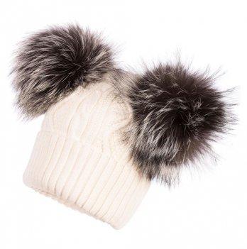 Зимняя шапка для девочки Jamiks Karina I, помпон Енот, молочная