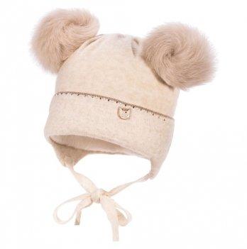 Теплая шапка для малышей Jamiks Mali III, помпон Кролик, бежевая