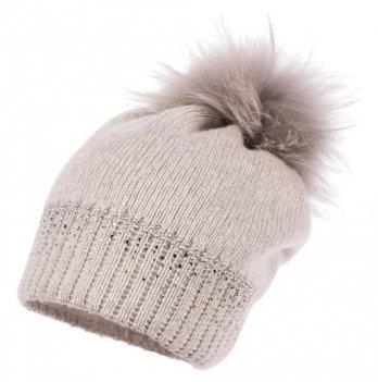 Зимняя шапка для девочки Jamiks Maya I, помпон Енот, серебро
