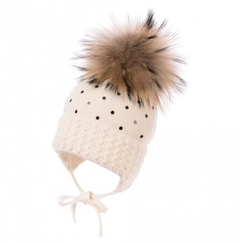 Зимняя шапка для девочки Jamiks Sandra I, помпон Енот, молочная